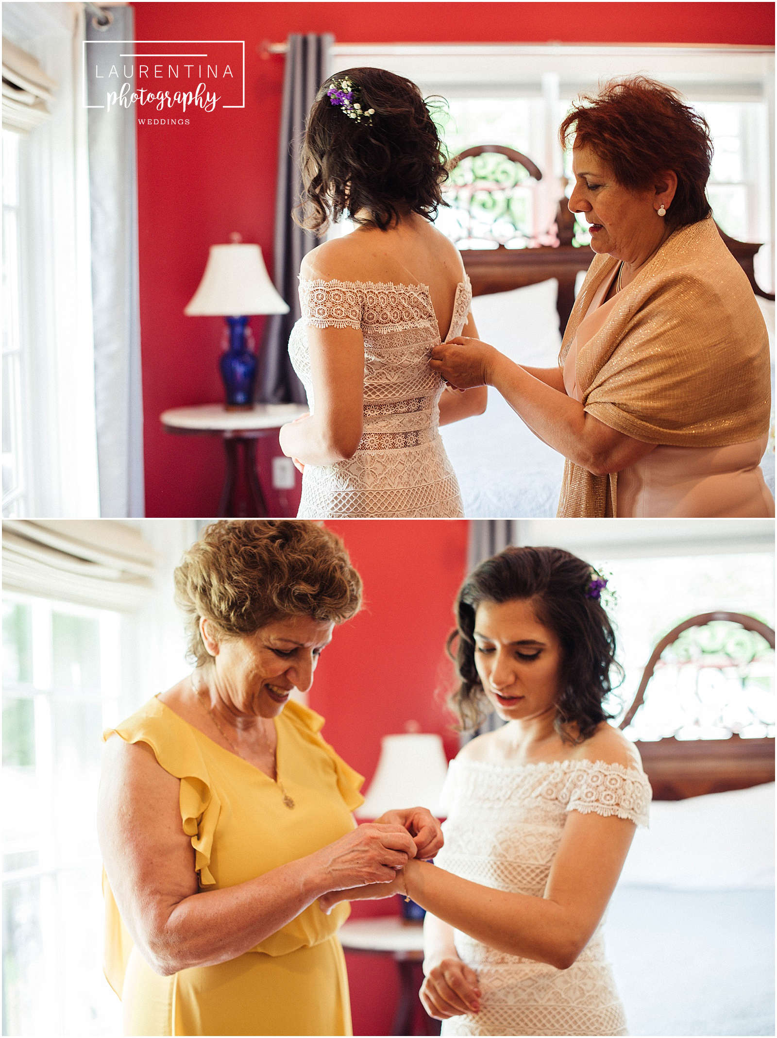 Bride putting on Dress and Heirloom Bahai Wedding Briar Patch Bed and Breakfast