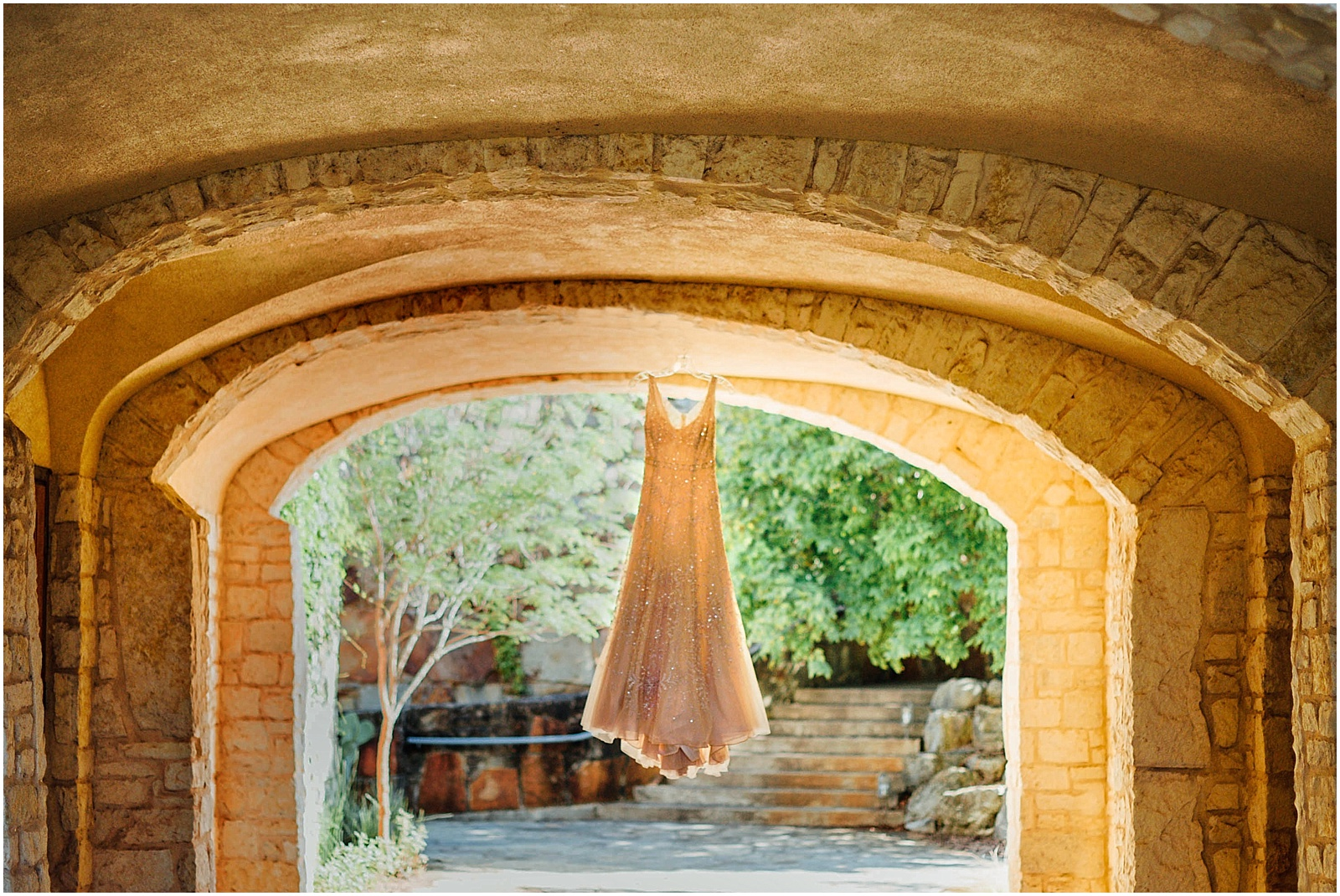 Dress in Archway Blush Pink Bridal Details at Lady Bird Johnson Wildflower Center Austin Texas Wedding