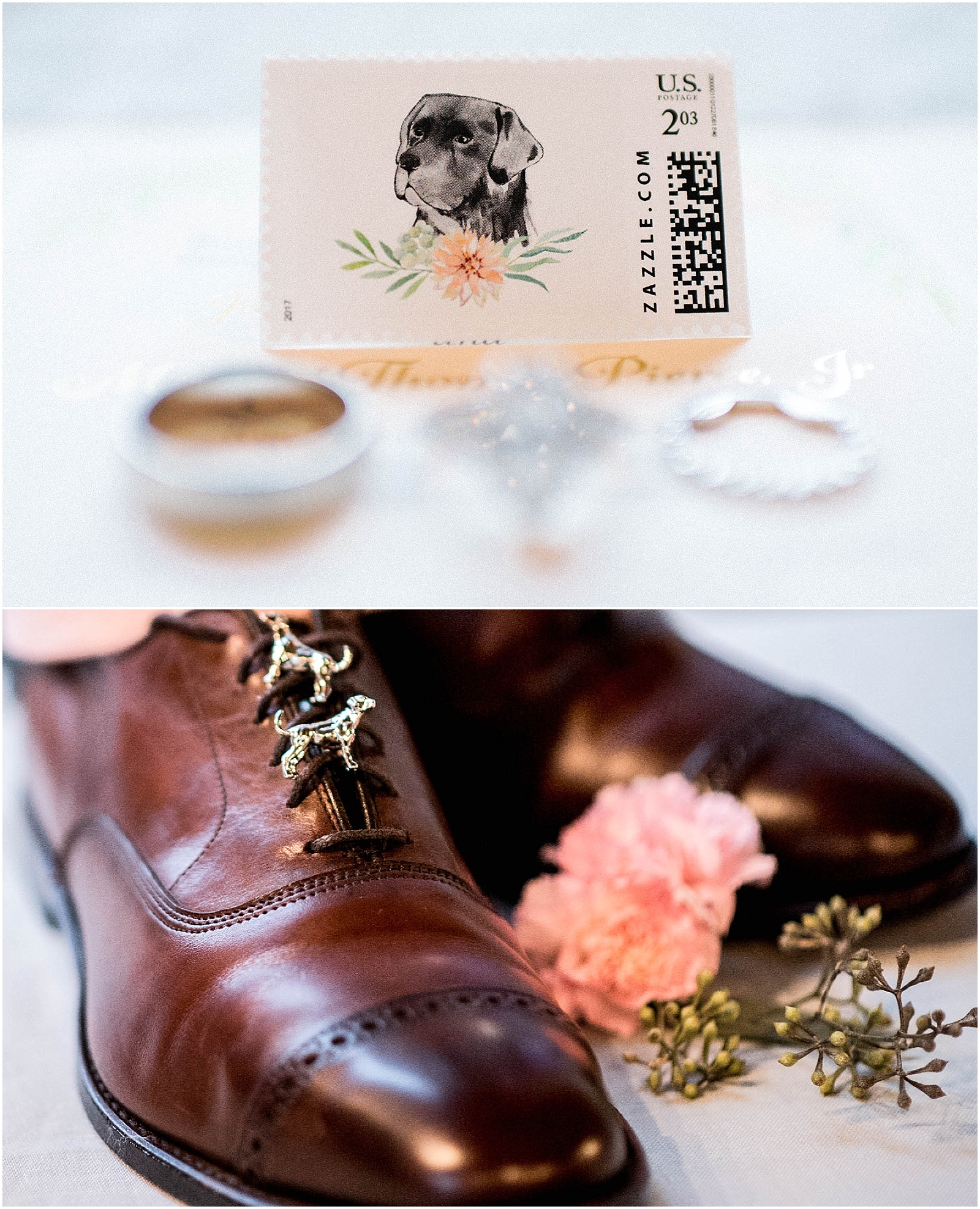 Black Lab Stamp Groom Details Blush Pink Bridal Details at Lady Bird Johnson Wildflower Center Austin Texas Wedding