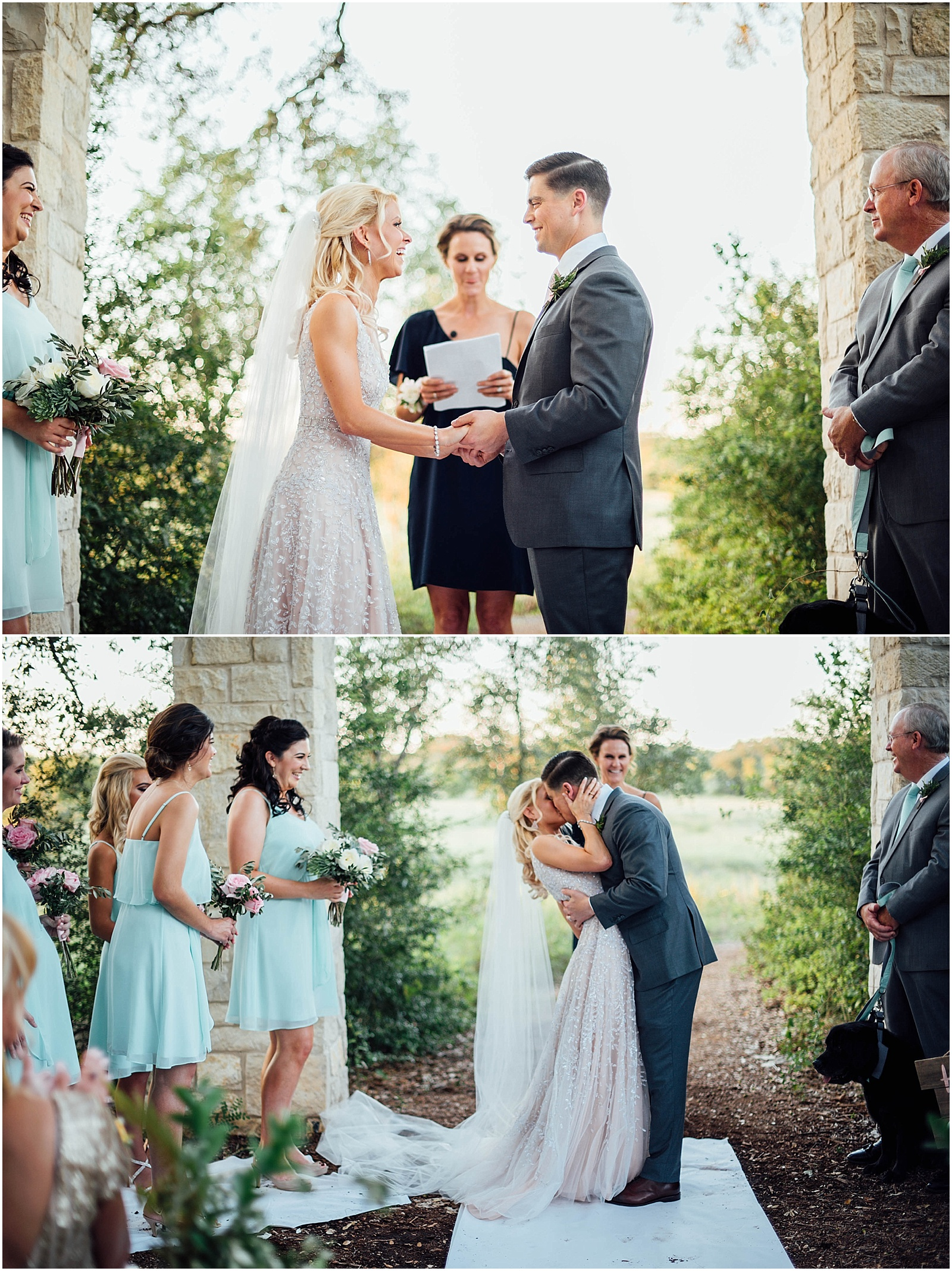 First Kiss at Lady Bird Johnson Wildflower Center Austin Texas Wedding