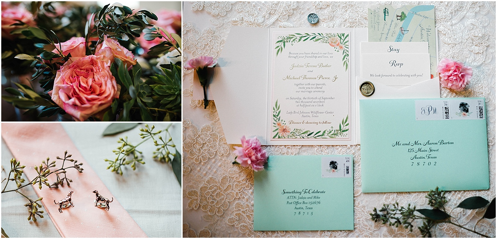 Stationery Mint Green Blush Pink and Grey Blush Pink Bridal Details at Lady Bird Johnson Wildflower Center Austin Texas Wedding