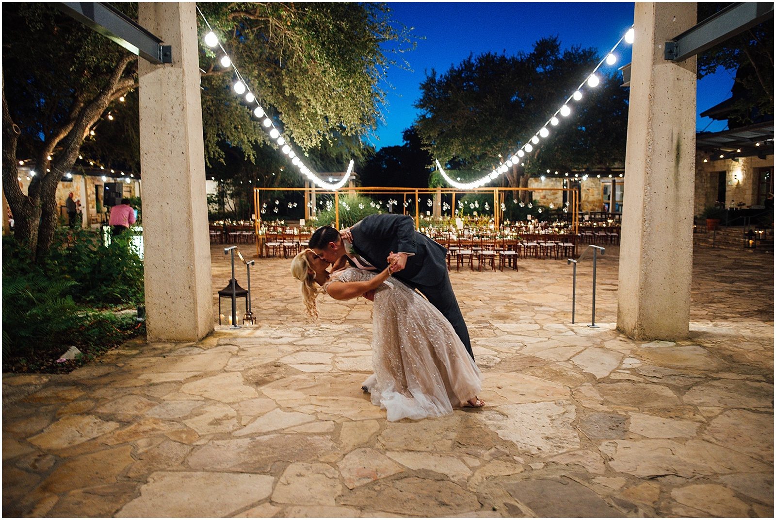 Dip in Italian courtyard at Lady Bird Johnson Wildflower Center Austin Texas Wedding