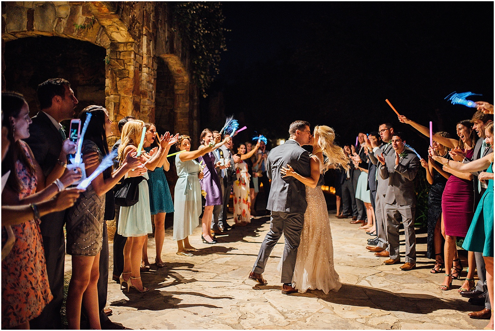 Glowsticks exit at Lady Bird Johnson Wildflower Center Austin Texas Wedding
