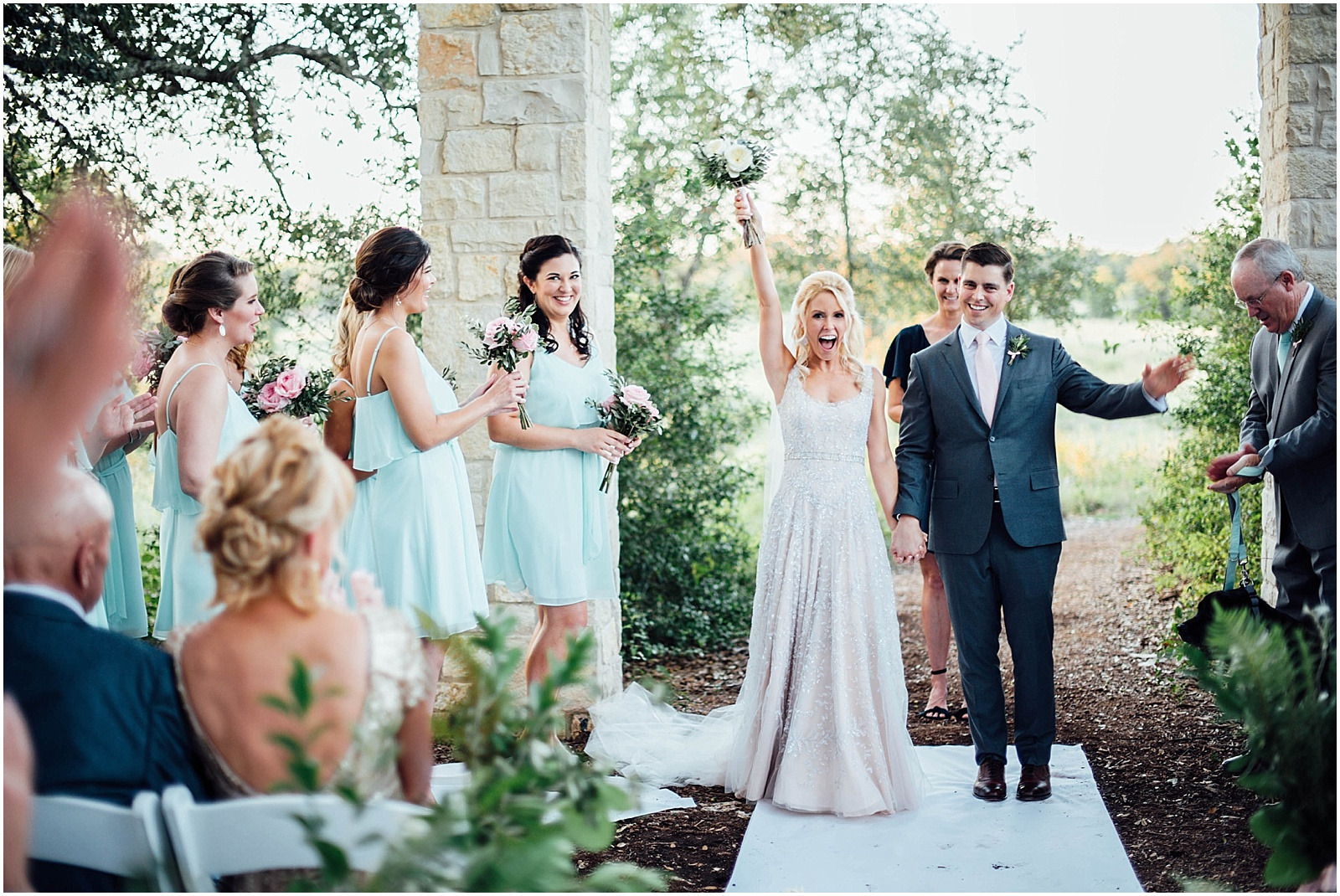 Just Married at Lady Bird Johnson Wildflower Center Austin Texas Wedding