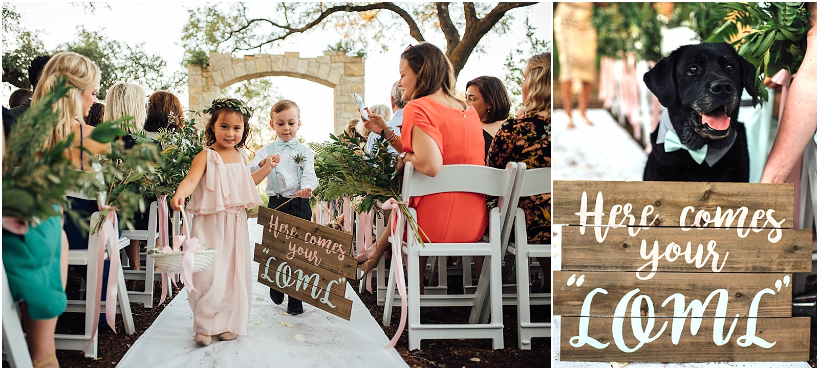 Ring Bearer and Flower girl Blush Pink Bridal Details at Lady Bird Johnson Wildflower Center Austin Texas Wedding
