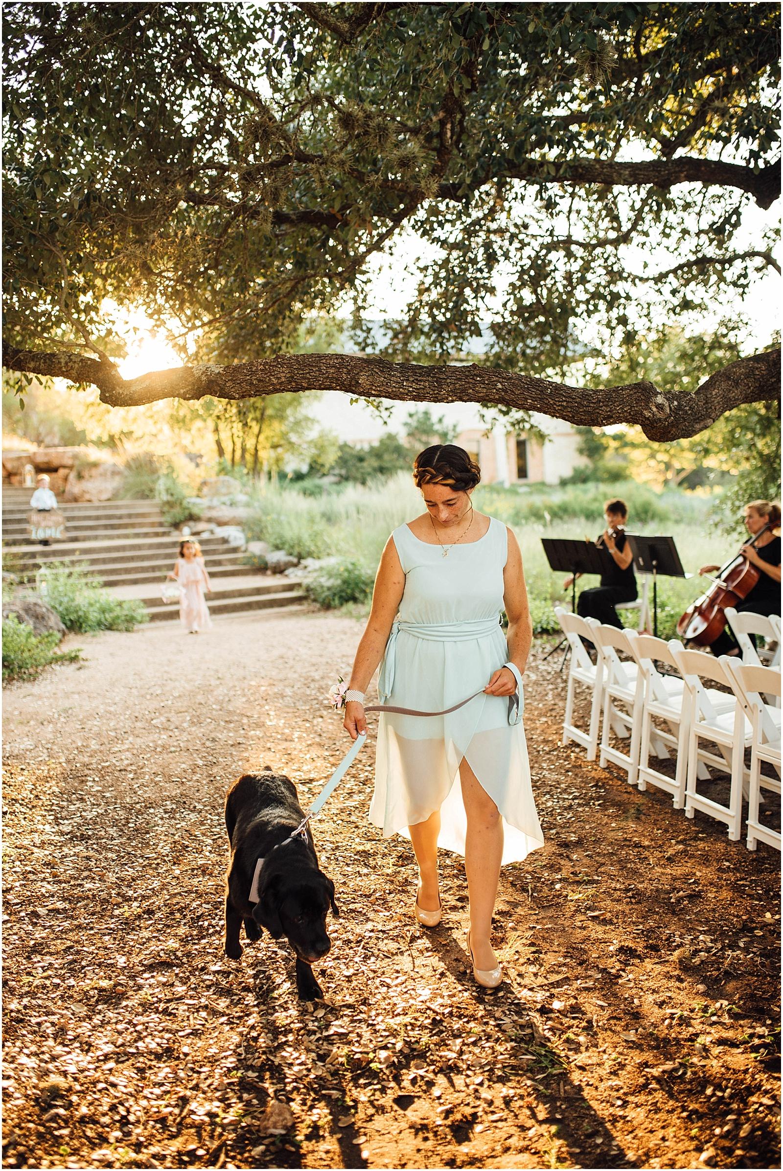 Junior Bridesmaid and Best Dog Blush Pink Bridal Details at Lady Bird Johnson Wildflower Center Austin Texas Wedding