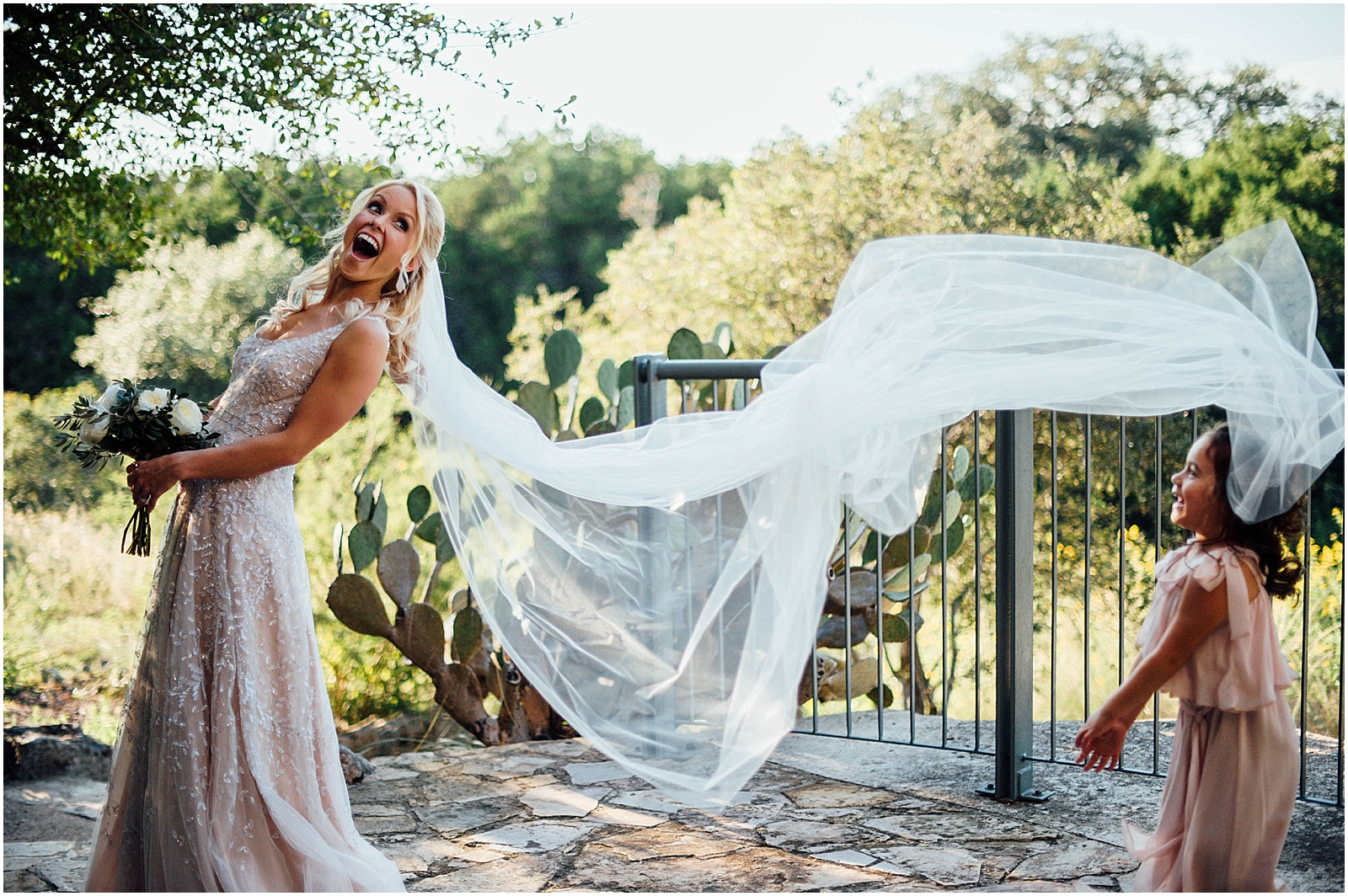 Bride with Veil Blush Pink Bridal Details at Lady Bird Johnson Wildflower Center Austin Texas Wedding