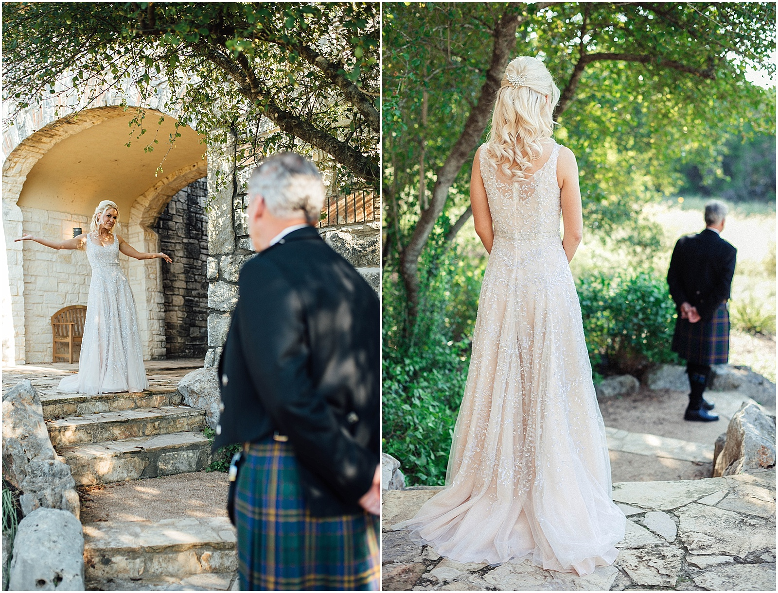 First Look with Dad Blush Pink Bridal Details at Lady Bird Johnson Wildflower Center Austin Texas Wedding