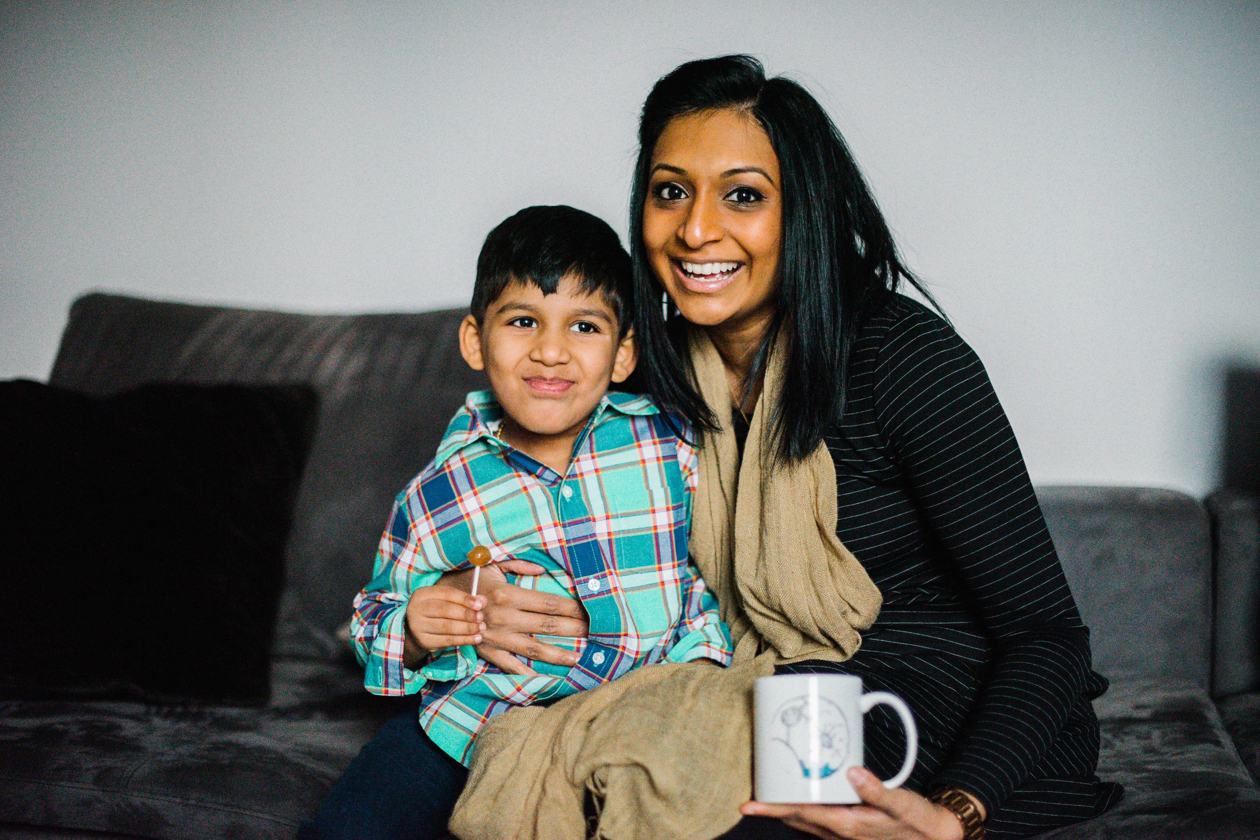 mom and 5 year old son