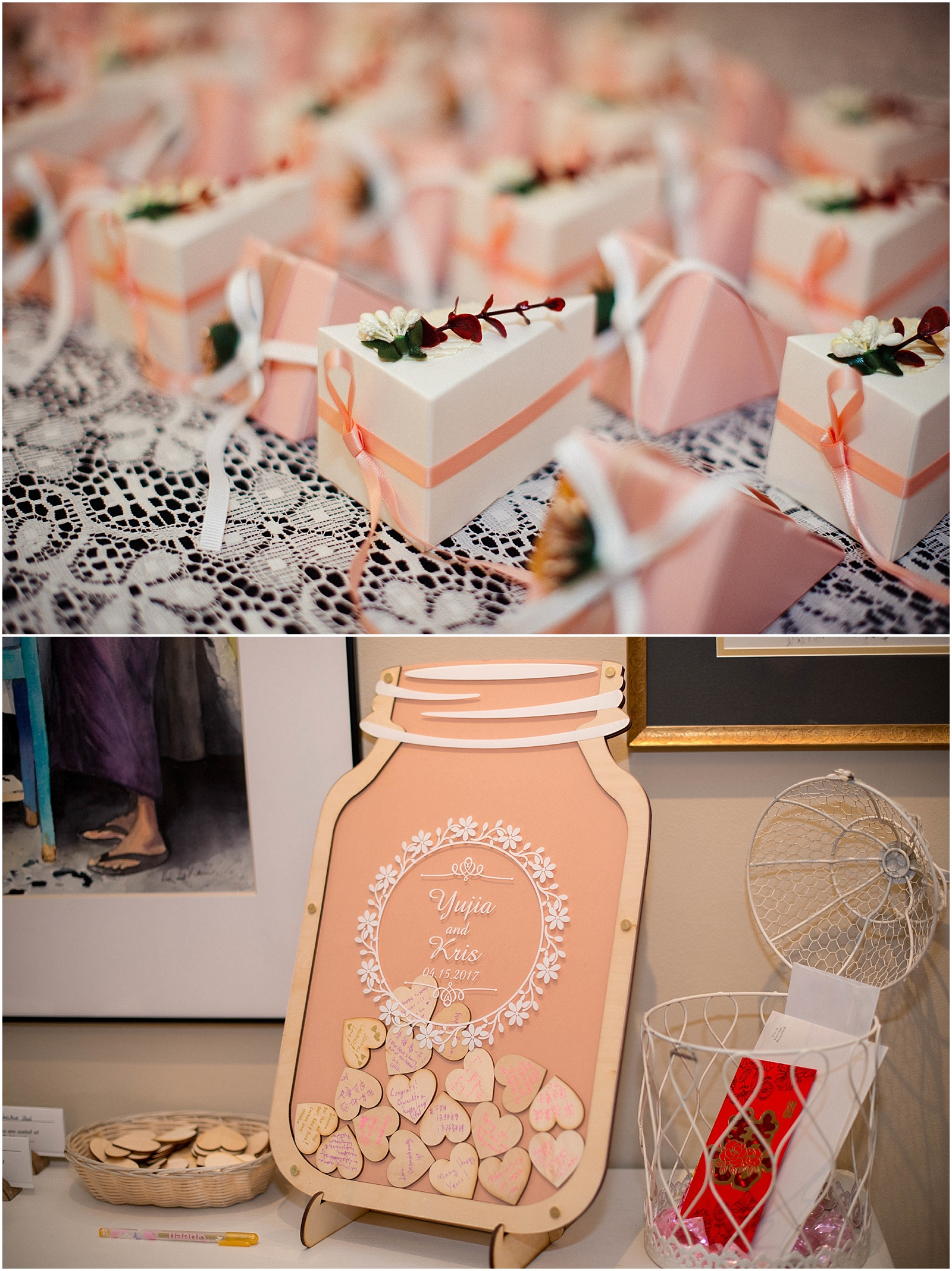 pink mason jar wooden wedding DIY