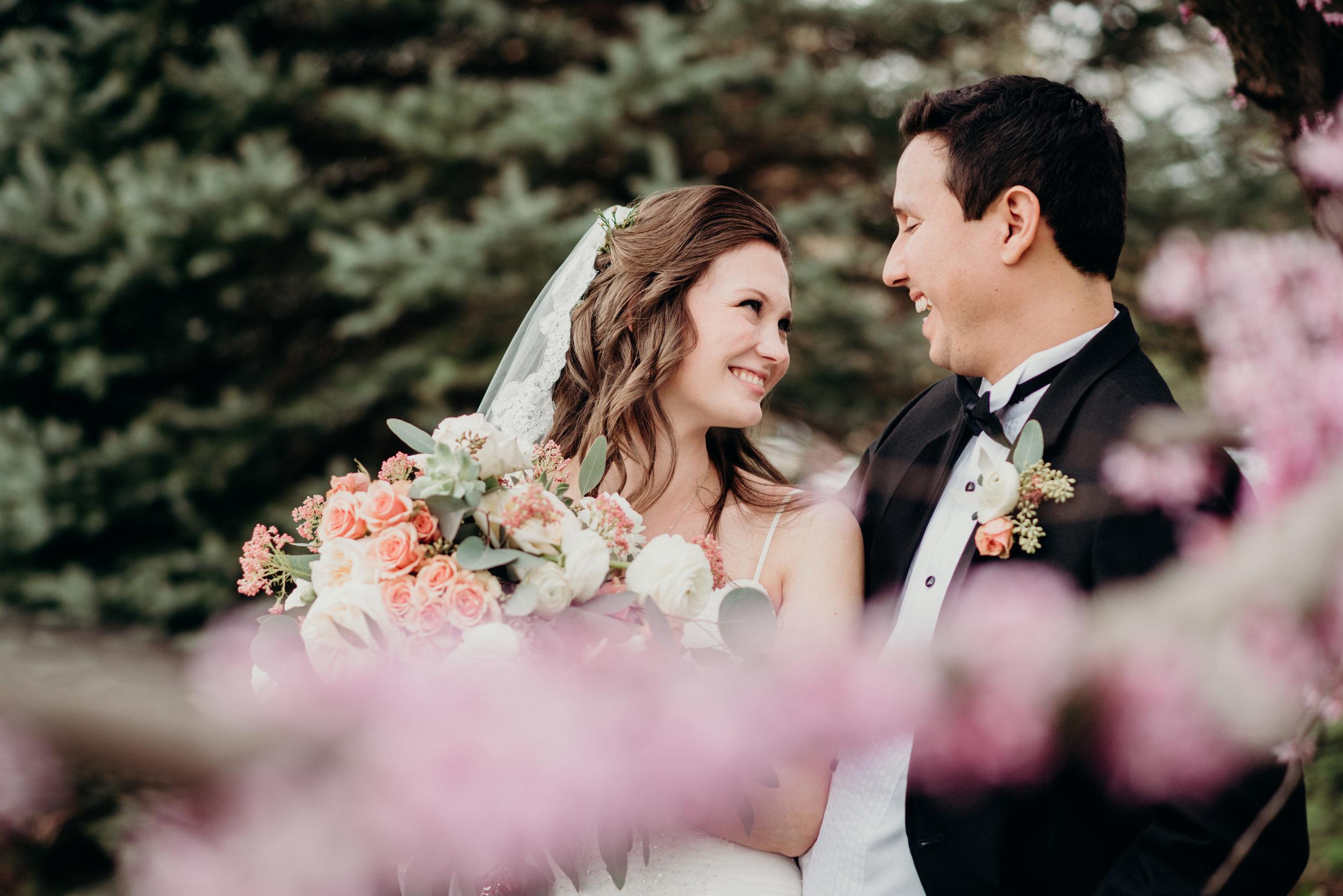 Catholic Wedding Portraits Cherry Blossom Fairfax City