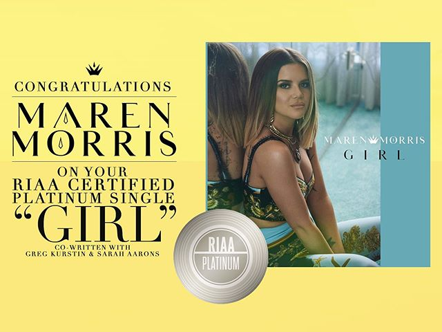 """""""GIRL"""" is officially certified PLATINUM! ✨  This song encourages us all to love & not lose ourselves when times are difficult. And reminds us that """"everything's gonna be okay"""" in the end. Congratulations to @marenmorris and fellow co-writers @sarah_aarons and Greg Kurstin on this incredible accomplishment!"""