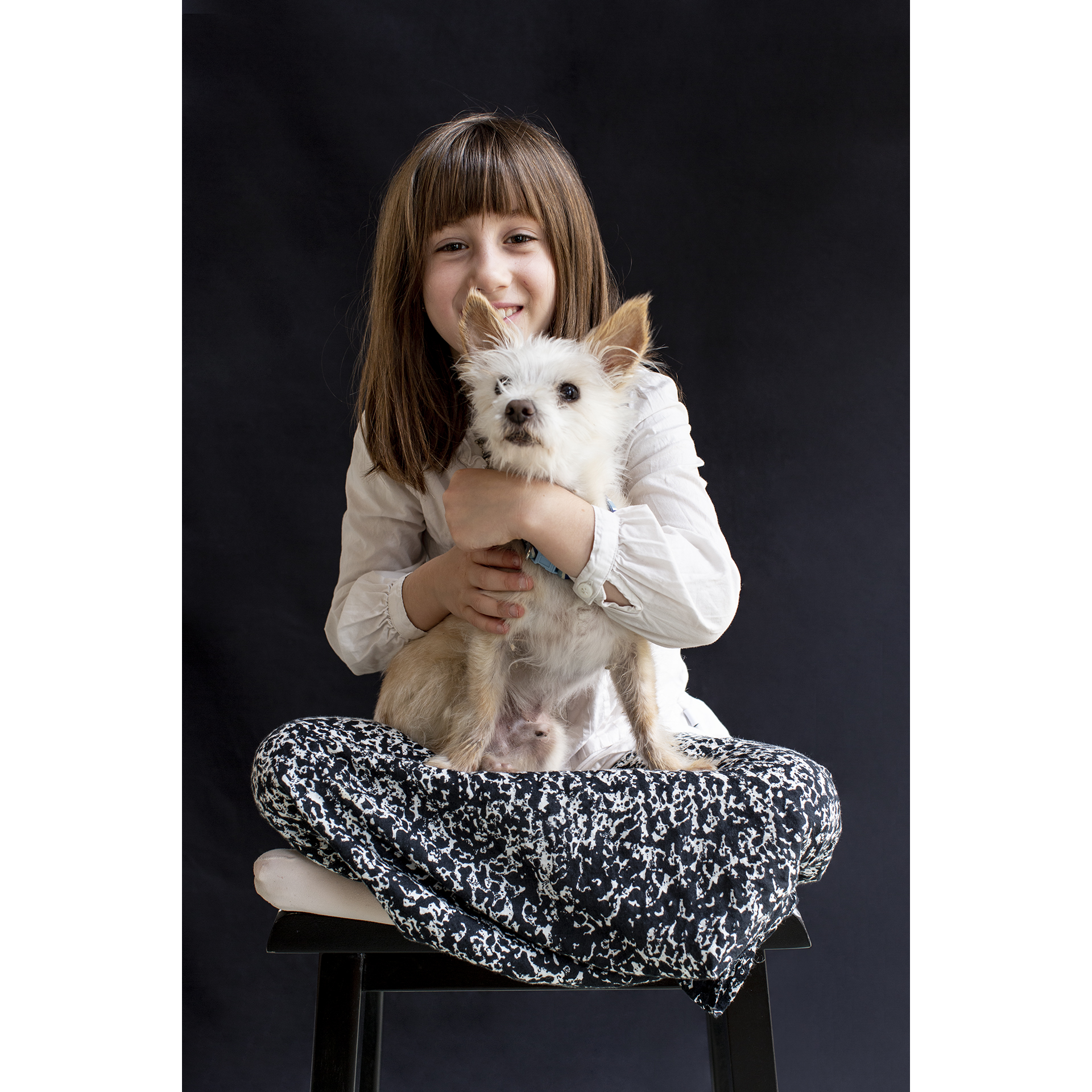 Ella Fleur (age 7), with her dog Zumbido, Maine Portrait by Lori Pedrick