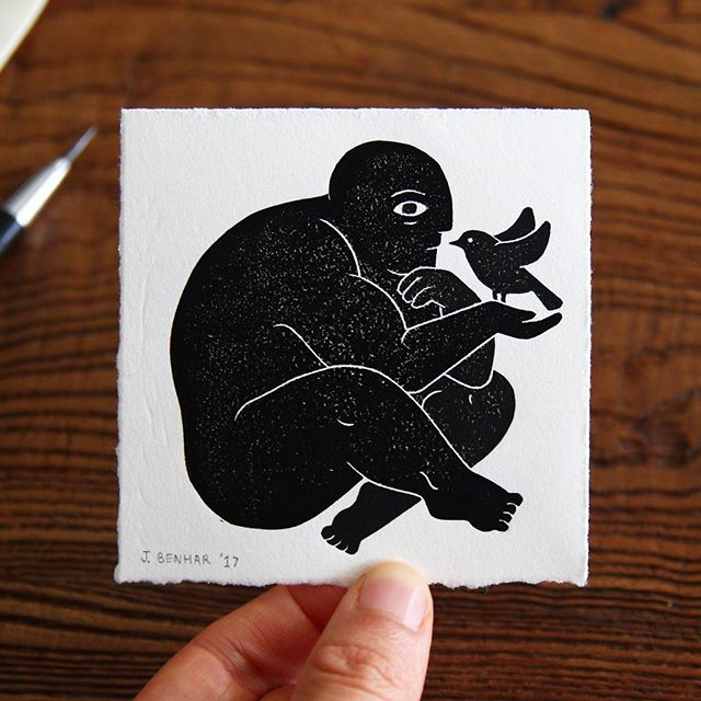 Man and Bird miniature linoprint (8.5 x 8.5cm) Took a while to get a good print of this guy because of the weather but he came through in the end! #man #bird #illustration #miniatureart #printmaking #linocut #linoprint #blockprint #handmade #harkenback