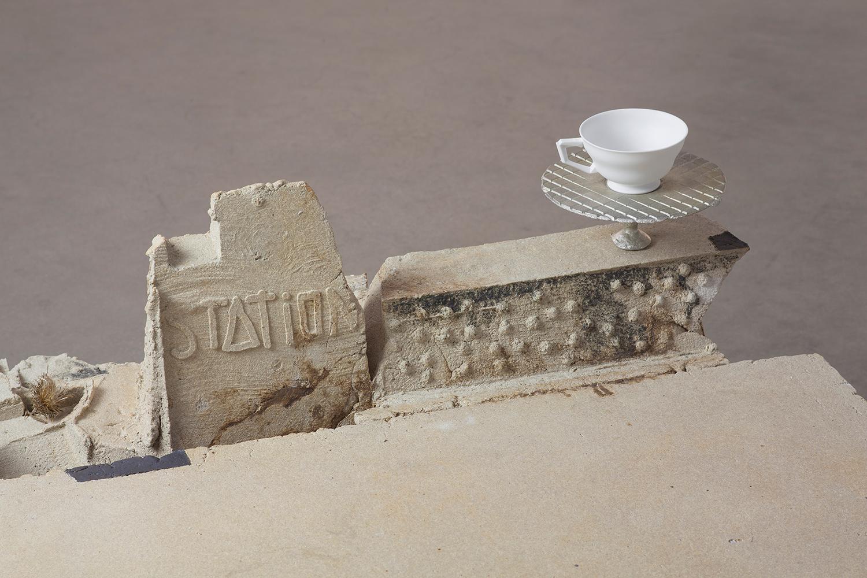 "STATION_Thistle . Detail. Stoneware, bone china, tin.24"" x 35"" x 55"". 2016."