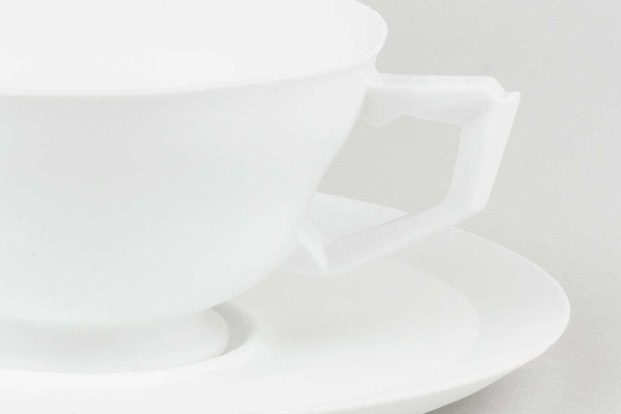 "X_Pattern_Set_1 . Detail. Bone china. 3"" x 5.5"" x 5.5"". 2015."