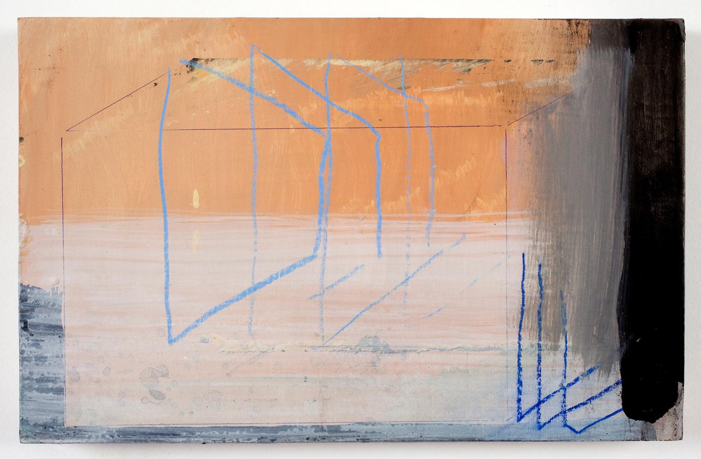 """Black-Ops . Acrylic on panel. 7"""" x 11"""". 2010."""