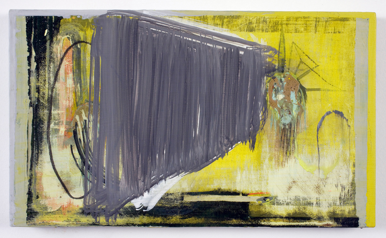 """EavesDropping, LifeForms . Acrylic on panel. 7"""" x 11"""". 2010."""