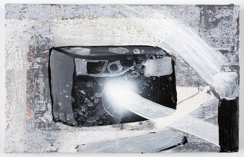 """Flash Action . Acrylic on panel. 7"""" x 11"""". 2010."""