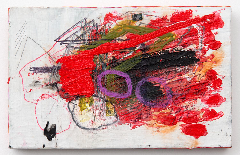 "BOTH Barrels_1 . Acrylic, oil, graphite on panel. 7"" x 11"". 2013."