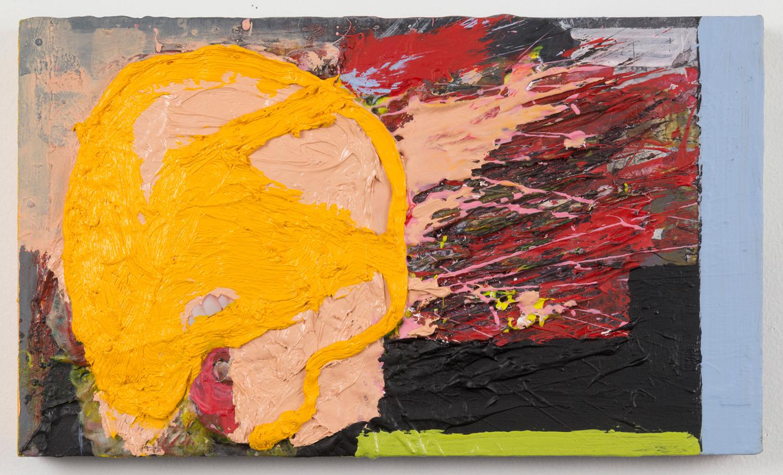 "Both Barrels_2 . Acrylic, oil, photograph on panel. 7"" x 12"". 2014."