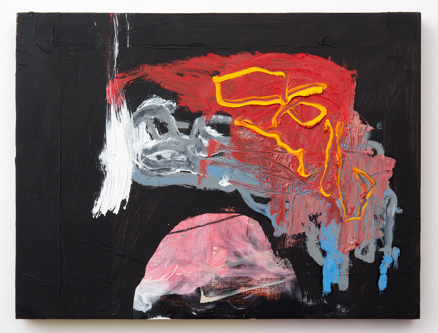 """GUTTED . Acrylic, oil on panel. 15.5"""" x 19"""" x 1.5"""". 2014."""