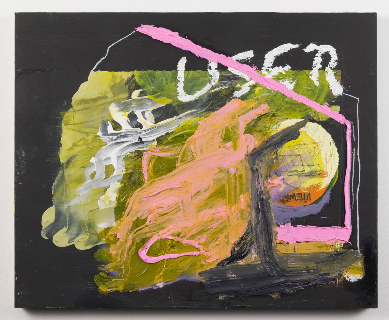 "USER . Acrylic, oil on panel. 15.5"" x 19"" x 1.5"". 2014."