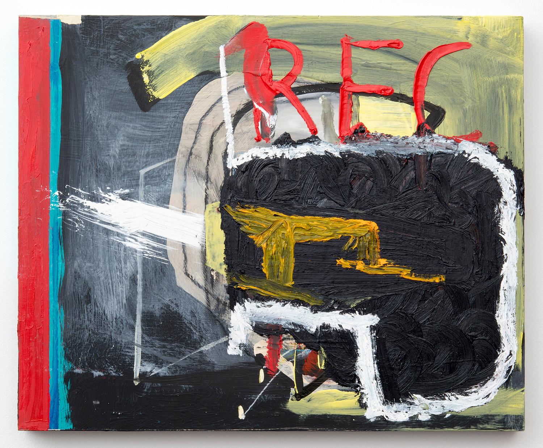 "REC_HEAD . Acrylic, oil on panel. 15.5"" x 19"" x 1.5"". 2014."