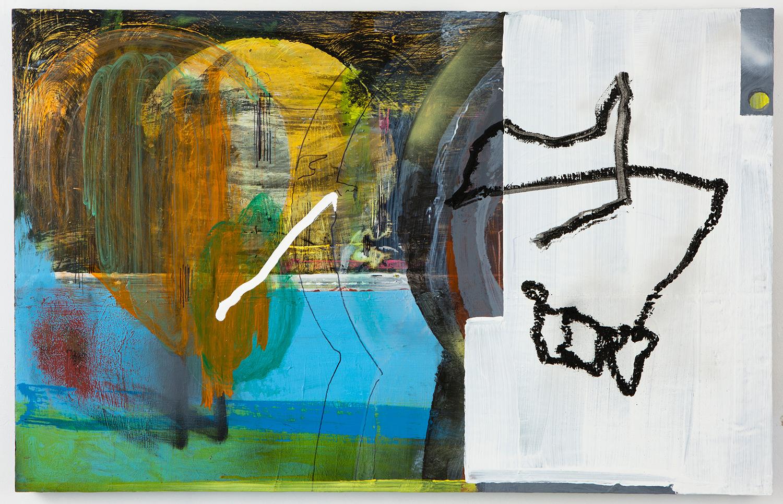 """Jaw X . Acrylic on panel. 28"""" x 44"""". 2013."""