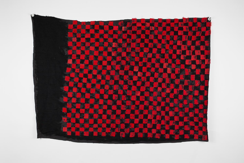 FACTION_FLAG . Linen, silicone, porcelain. 3' x 2'. 2016.