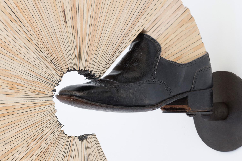 "Hedge_Left . Detail. Pine, leather, mild steel, caulk, chewing gum. 23"" x 19.5"" x 5"". 2014."