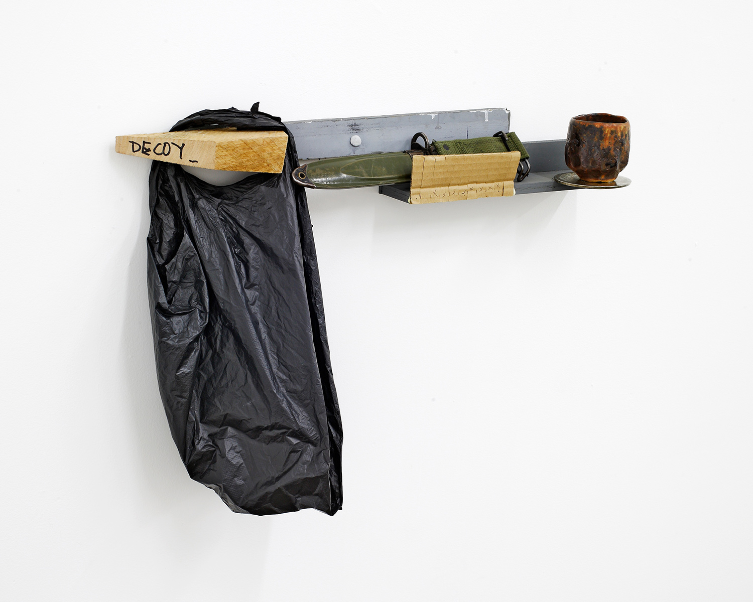 """Nightstand_1 . Sterling silver, stoneware, mid steel, cotton, pine, plastic bag, ink. 26"""" x 18"""" x 6"""". 2013."""