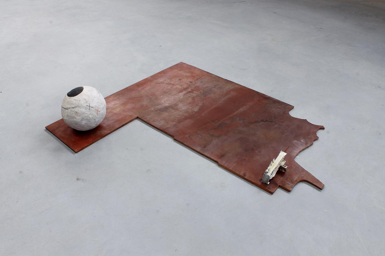 "STATION_YO .Stoneware, tin, rubber, spring steel. 6.75"" x 35.5"" x 27.5"". 2015."