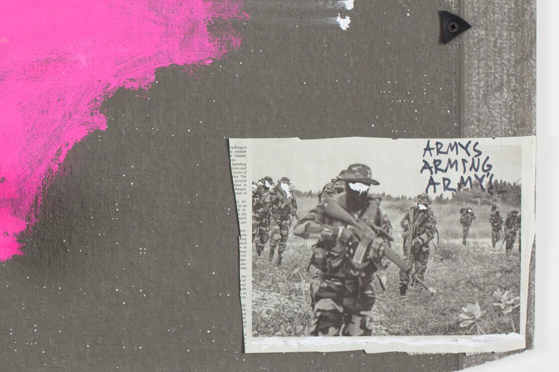 """Armies Arming Armies. Detail. Porcelain, newspaper, cement, paint. 14"""" x 40"""" x 4"""". 2016."""