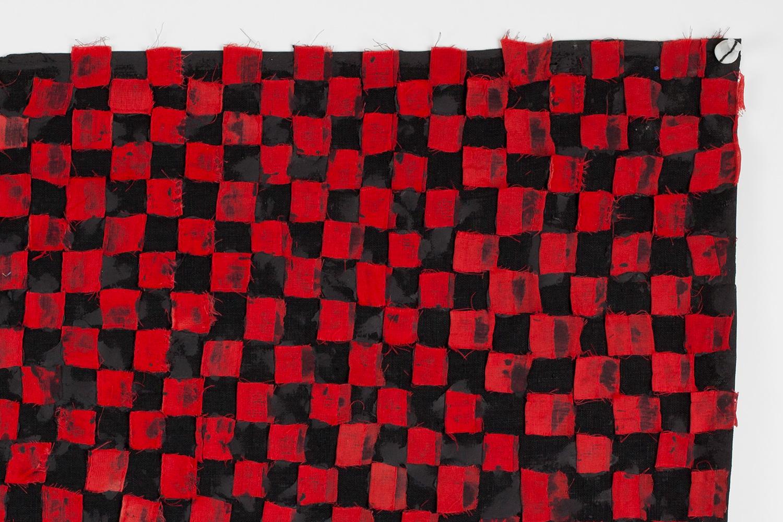 FACTION_FLAG . Detail. Linen, silicone,porcelain. 3' x 2'. 2016.