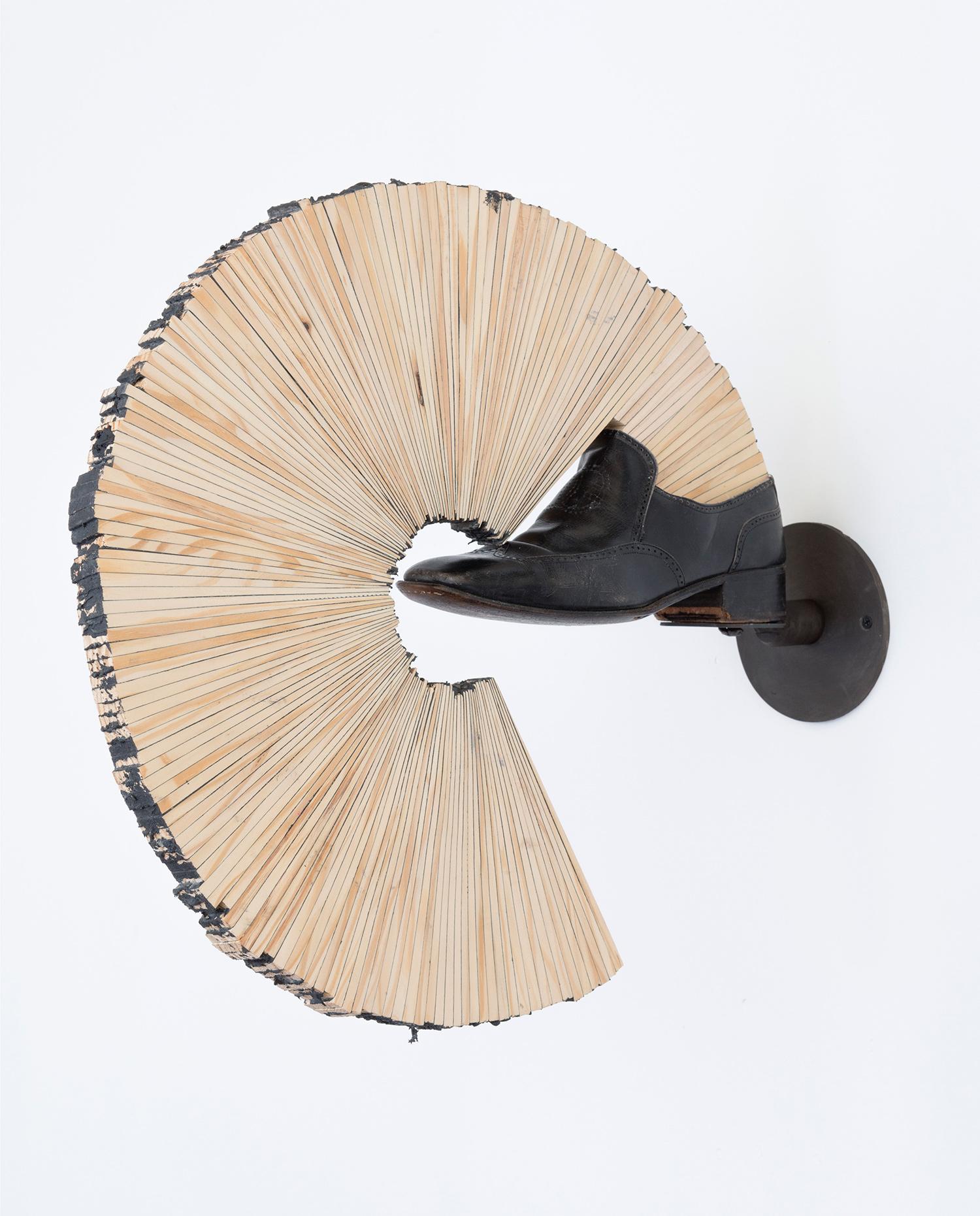 "Hedge_Left . Pine, leather, mild steel, caulk, chewing gum. 23"" x 19.5"" x 5"". 2014."