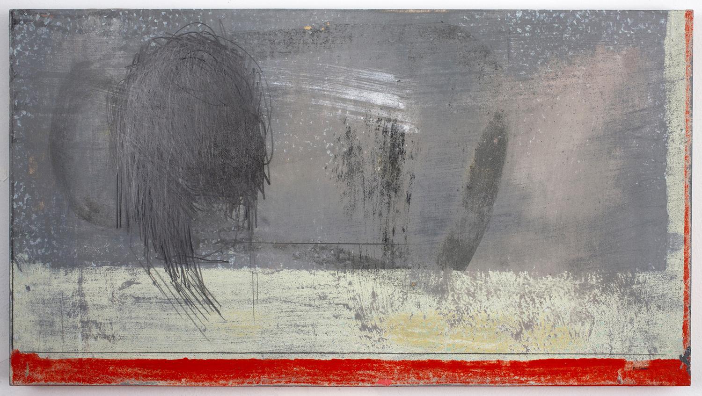 """FLOATING HEAD . Acrylic on panel. 13"""" x 23.25"""". 2010."""