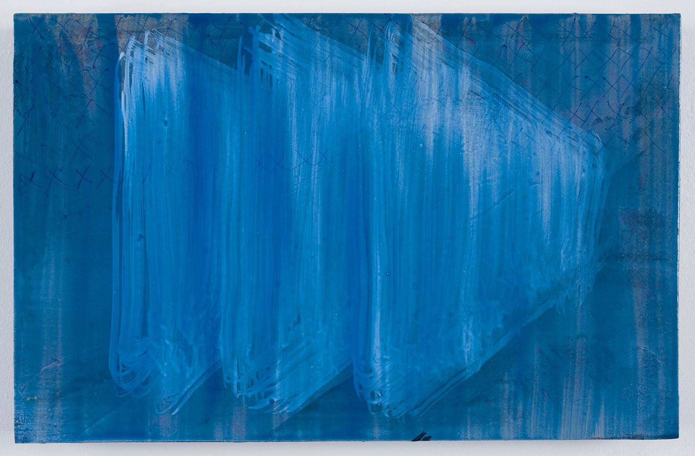 """Blockers - 3 . Acrylic on panel. 7"""" x 11"""". 2010."""
