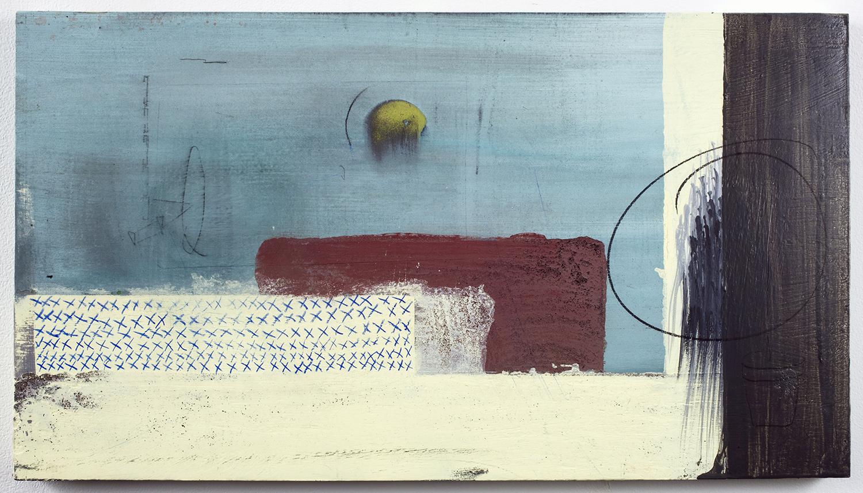 """X . Acrylic on panel. 13"""" x 23.25"""". 2010."""