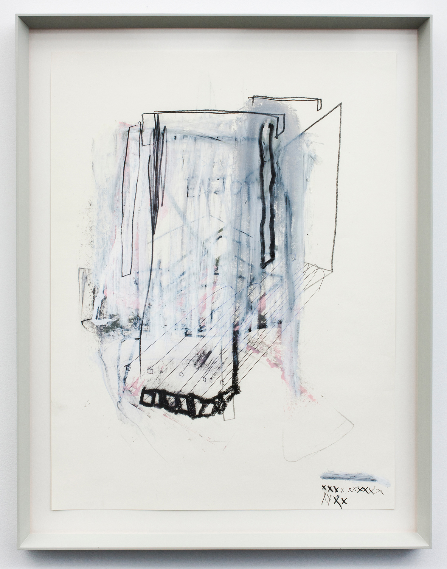 """ENJOY . Graphite, oil stick, correction fluid and ink on paper. 27.5"""" x 21.25"""". 2012."""