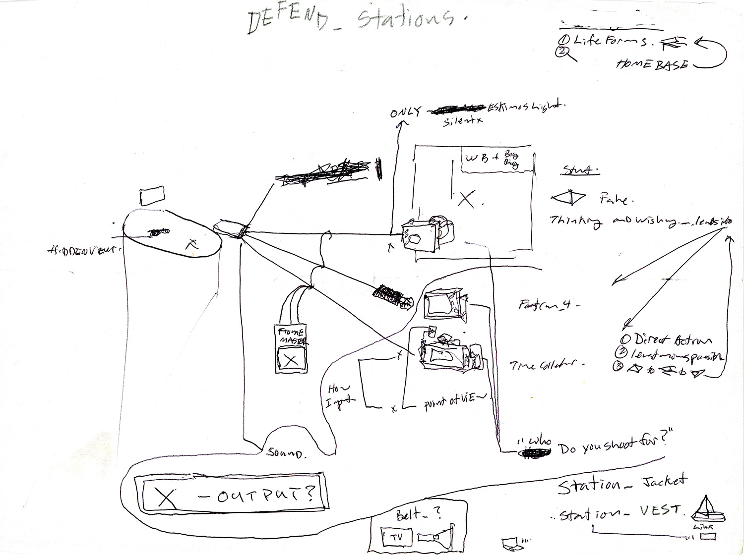 """DEFEND_Stations_Schematic . Ink and graphite on paper. 8.5"""" x 11"""". 2014."""