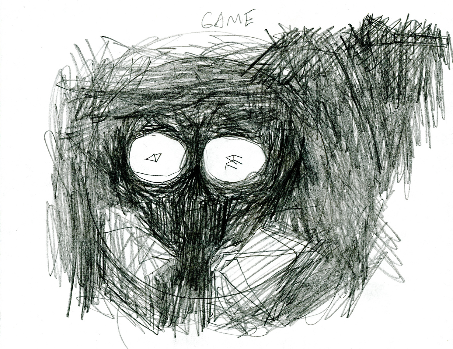 """Game_Real-vs-Fake . Graphite on paper. 8.5"""" x 11"""". 2014."""