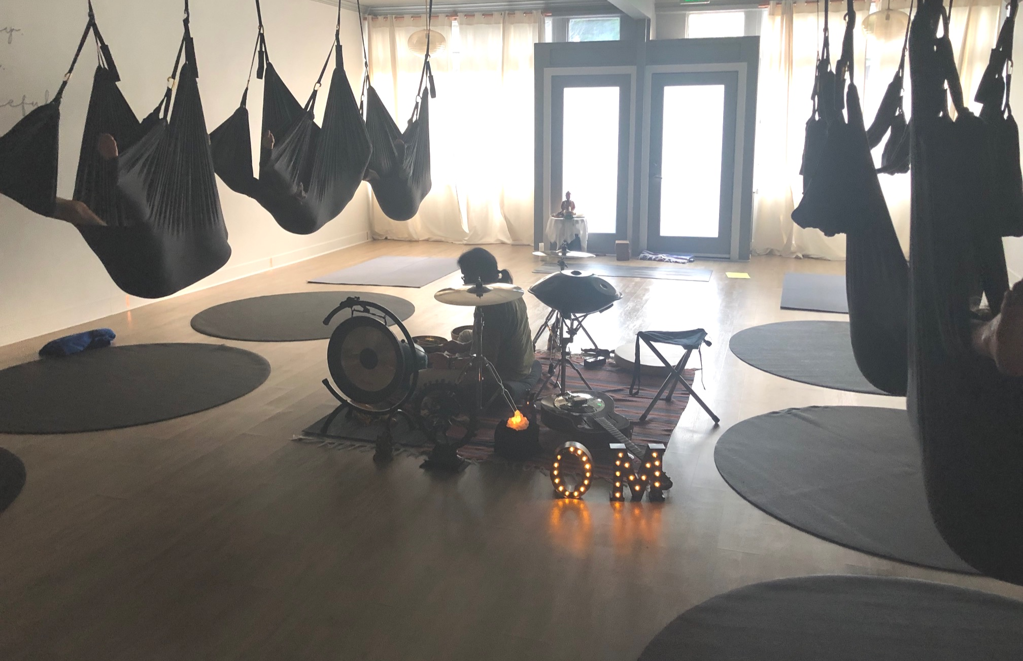 aerial swing, sound healing, michael padilla, aerial yoga, relaxation, meditation
