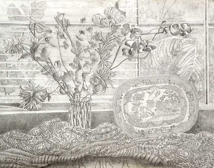 Poppies, Orchid and Willow Pattern Plate