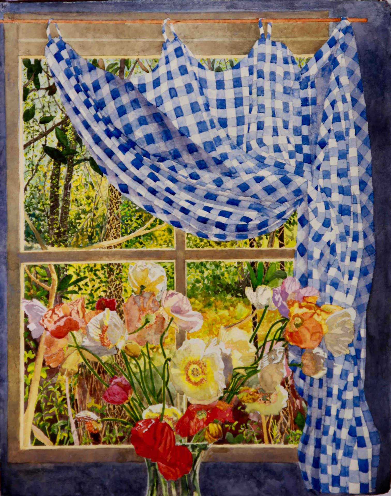Poppies and Gathered Gingham