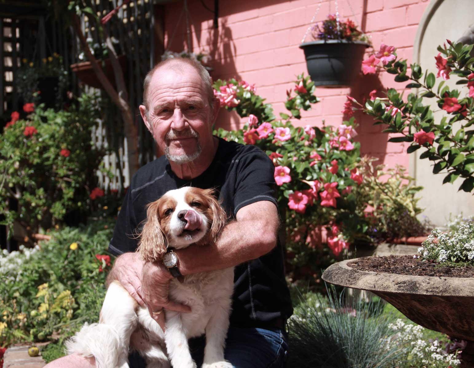 Graham Marchant with Harvey in his Balmain garden, 2018