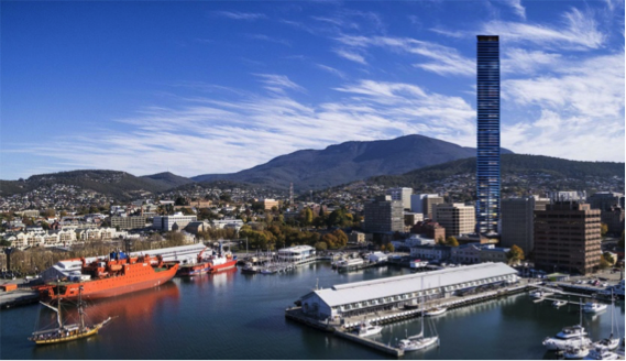 An artist impression of the Fragrance Towers in Hobart. Graphic by Jack Redpath.