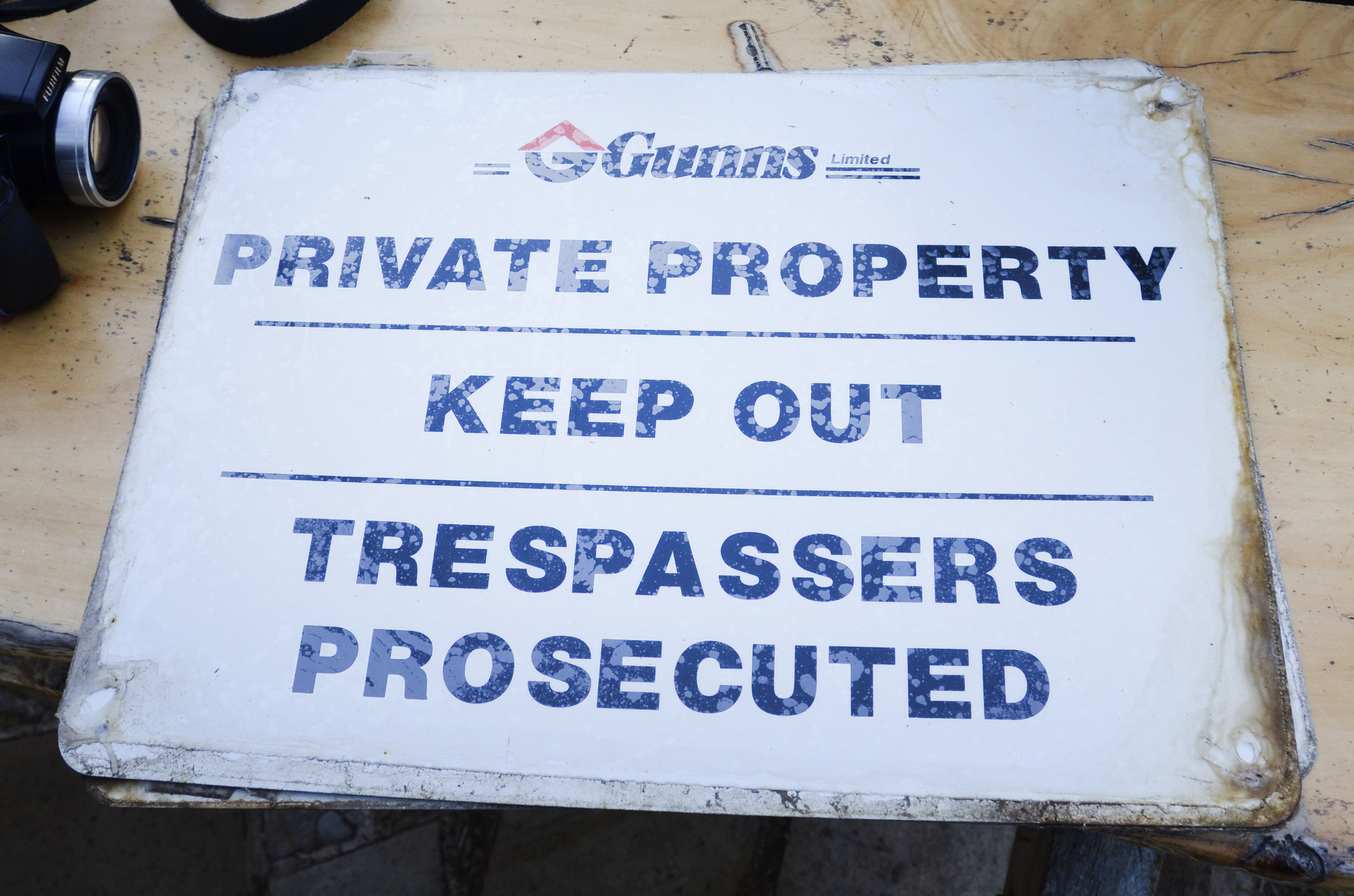 Signage that was never used to guard the Gunns' pulp mill. Photo by Jill Cassidy