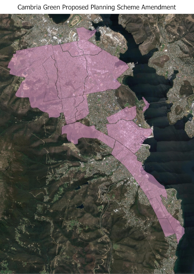 The Cambria Green Property map superimposed over a map of Hobart at the same scale. Image courtesy of Freycinet Action Network.