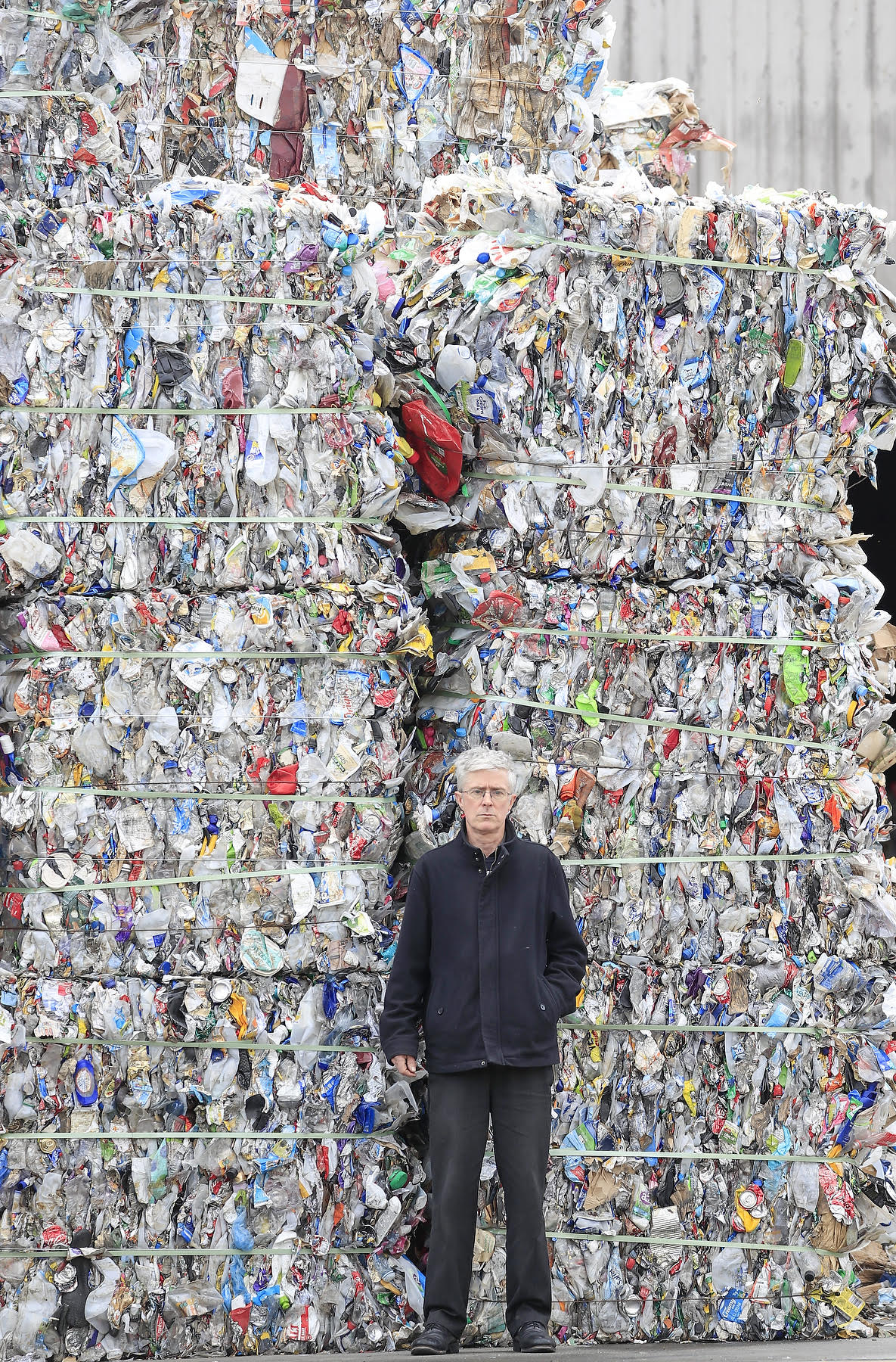 Part of the SKM Recycling's plastic stockpile at Derwent Park. Photo Rob Blakers.